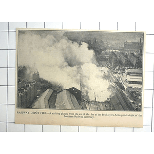 1936 Striking Aerial Photograph Bricklayers Arms Goods Depot Seven Railway Fire