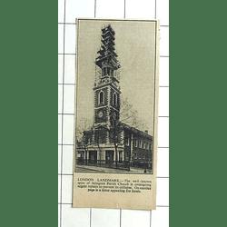 1936 Spire Of Islington Parish Church Undergoing Urgent Repairs
