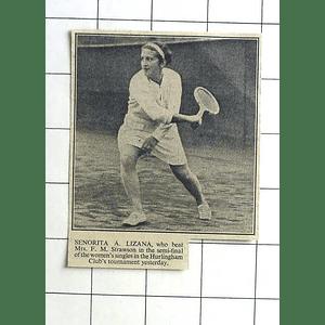1936 Señorita A Lizana Tennis Hurlingham Club