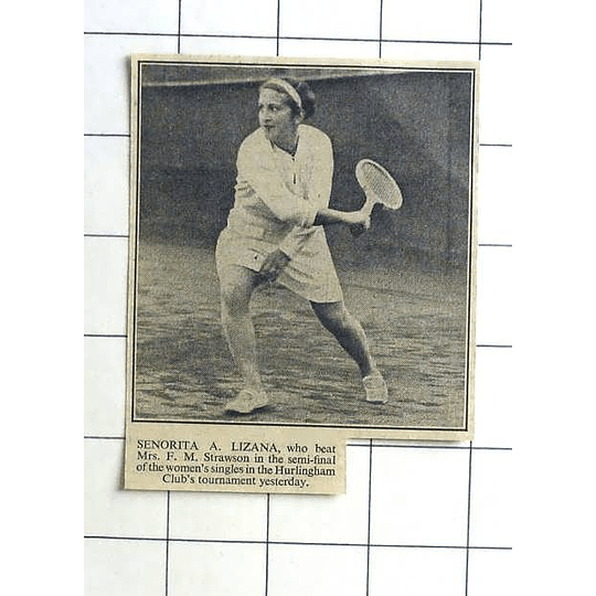 1936 Señorita A Lizana Tennis Hurlingham Club