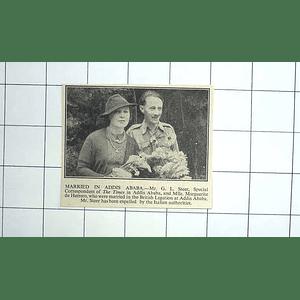 1936 Mr Gl Steer Marries Mlle Margarete De Herrero In Addis Ababa
