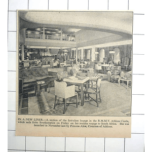 1936 First Class Lounge In Athlone Castle Maiden Voyage South Africa