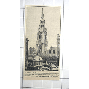 1936 St Bride's Church Visible After Demolition Of Buildings Salisbury Square