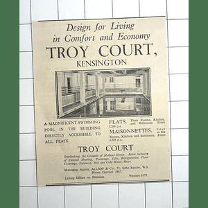 1936 Troy Court Kensington, Designed For Comfort, Flats £200 P.a.