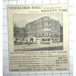 1936 Popular West End Flats, Stockleigh Hall Regents Park, £250 P.a.