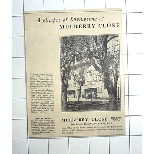 1936 Springtime At Mulberry Close Hendon, Freedom From The Dust Of London