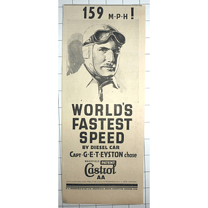 1936 159 Mph! Worlds Fastest Speed Diesel Car Captain Eyston Castrol