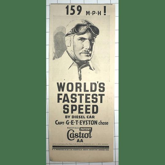 1936 159 Mph! Worlds Fastest Speed Diesel Car Captain Eyston Castrol