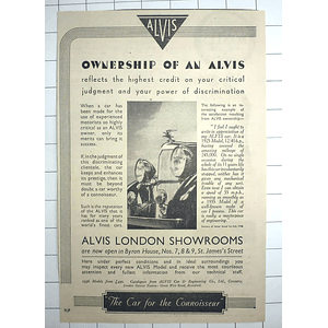 1936 Own An Alvis, The Car For The Connoisseur
