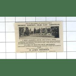 1936 Highest Position Near East Grinstead, 18 Acres Orchard,  6  Bedroom House