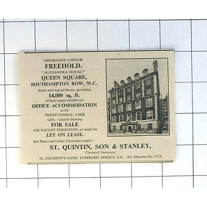 1936 Important Corner Freehold Alexandra House Queen Square For Sale