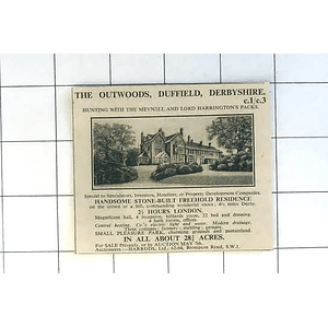 1936 Duffield, Derbyshire, The Outwoods Stone Built Residence 28 Acres For Sale