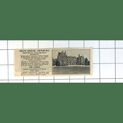 1936 Shaw House Newbury Elizabethan Mansion 156 Acres For Sale