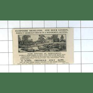 1936 12 Acres Hampshire Highlands, Georgian House, £6950