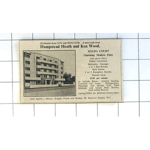 1936 Hilda Court, Charming Modern Flats, £130 P.a., Hampstead Heath, Ken Wood