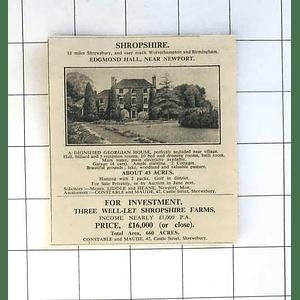 1936 Edgmond Hall Near Newport Salop 43 Acres Georgian House For Sale