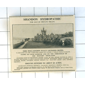 1936 Shandon Hydrographic, Fully Licensed Hotel Close Loch Lomond 60 Acres