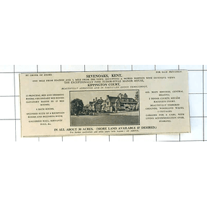 1936 Kippington Court, Tudor Style Manor House sevenoaks Kent 30 Acres For Sale