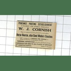 1932 Penzance Posting Establishment Wj Cornish Horse Hearse