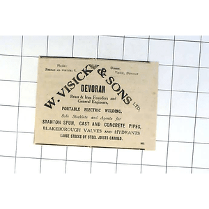 1932 W Visick Sons, Devoran, Brass And Iron Foundry, Engineers