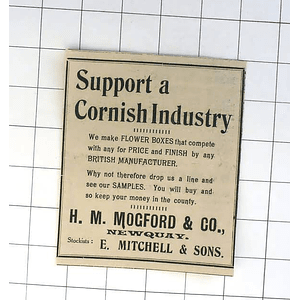 1932 Hm Mogford And Co, Newquay Cornwall Makes Flower Boxes