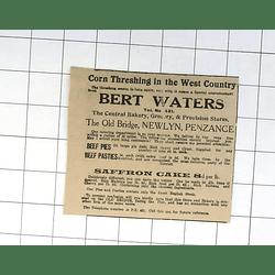 1932 Bert Waters, Old Bridge Newlyn, Delivers Pies Pasties By Van