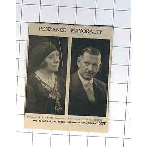 1932 Mayoral Penzance Mr And Mrs Jw Meek