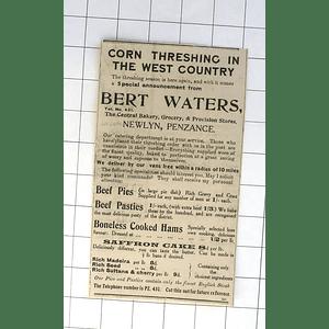 1932 Bert Waters Delivers During Threshing, Hams, Cake, Pasties Newlyn Penzance