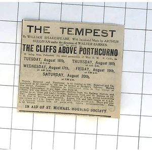 1932 Shakespeare's Tempest On The Cliffs Above Porthcurno In Aid St Michael