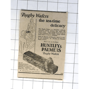 1932 The Rugby Wafer, Teatime Delicacy, Huntly And Palmers