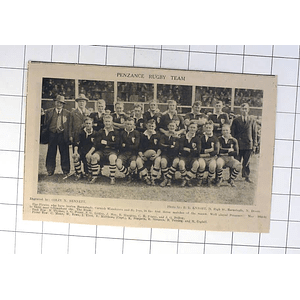 1932 Penzance Rugby Team Photo, Officials,cogbill, Pellow, Littler,mann
