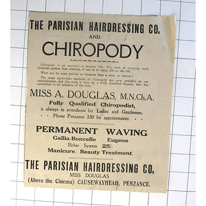 1932 Miss Douglas, Parisian Hairdressing Co Above Cinema Causewayhead Penzance
