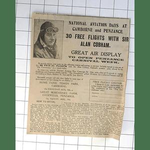 1932 33 Flights With Sir Alan Cobham Great Air Display Penzance