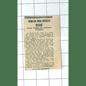 1937 Mrs Minnie Rule Rescued By Frederick Allard Primrose Terrace Newlyn