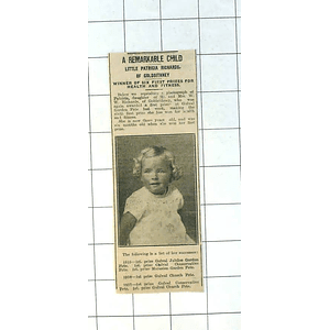 1937 Remarkable Child Little Patricia Richards Of Goldsithney