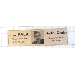 1937 Jl Palk Radio Dealer Alverton Street Penzance