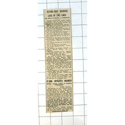 1937 Imperial Airways Flying Boat Cygnus Crashes Brindisi, Flying Ofc Mountain