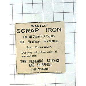 1937 Scrap Iron Wanted By The Penzance Salvers And Shippers