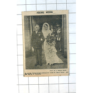 1937 St Mary's Church Penzance, Mr And Mrs Richard H Squire Marie