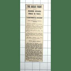 1938 Great Boxing Fight, Braddock Declared Winner Against Welshman Farr