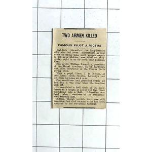 1938 Bad Luck David Llewellyn Long-distance Pilot Killed With Pupil Jb Kitson