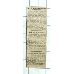 1938 Tresvennack Farm Sold £2150, Polmennor House, Heamoor, £1195