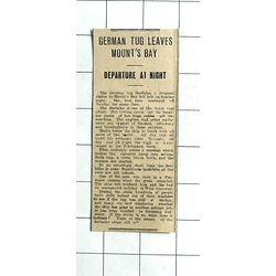 1938 German Tug Seefalke Leaves Mounts Bay, Departs By Night