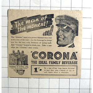 1938 The Man Of The Moment, The Corona Man, Ideal Family Beverage
