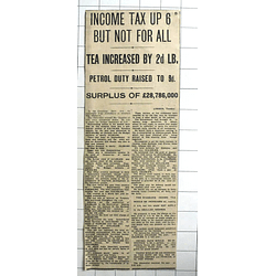 1938 Substantial Budget Surplus Of Over £28 Million, Income Tax Up Sixpence