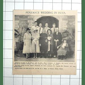 1938 Penzance Wedding In India, Karachi, Cpl Ridge Weds Miss T Williams