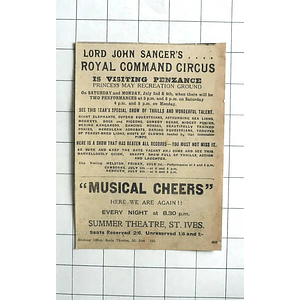 1938 Lord John Sangers Royal Command Circus, Lions, Clowns, Kangaroos, Sea Lions