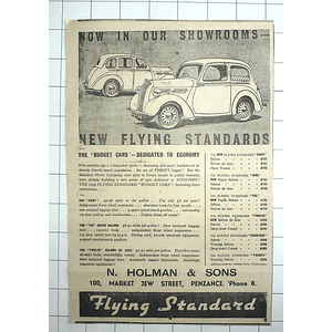 1938 The New Budget Car, Flying Standard, From £129, Holman And Sons Penzance