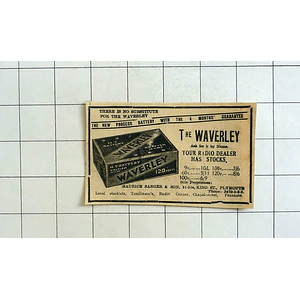 1934 New Process Battery , Guarantee, The Waverley, Maurice Sanger Plymouth