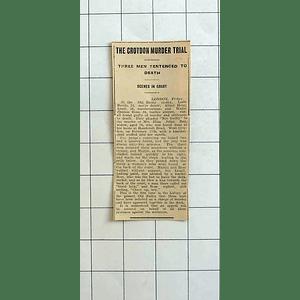 1934 Croydon Murder Trial, Three Men Sentenced To Death